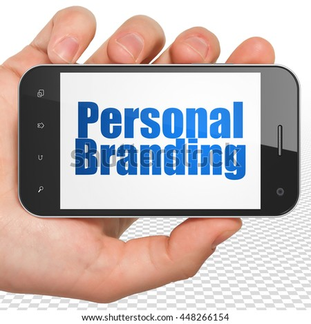 Advertising concept: Hand Holding Smartphone with blue text Personal Branding on display, 3D rendering - stock photo