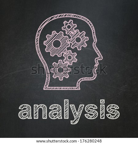 Advertising concept: Head With Gears icon and text Analysis on Black chalkboard background, 3d render