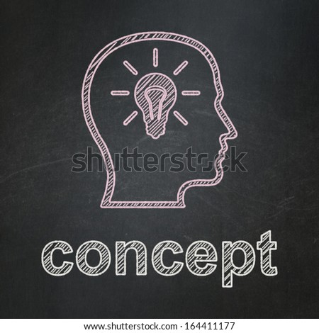 Advertising concept: Head With Lightbulb icon and text Concept on Black chalkboard background, 3d render