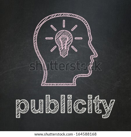 Advertising concept: Head With Lightbulb icon and text Publicity on Black chalkboard background, 3d render