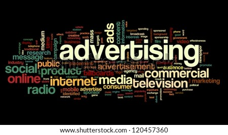Advertising concept in tag cloud on white background - stock photo