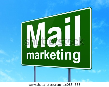 Advertising concept: Mail Marketing on green road (highway) sign, clear blue sky background, 3d render - stock photo