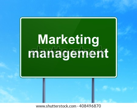 Advertising concept: Marketing Management on green road highway sign, clear blue sky background, 3D rendering - stock photo