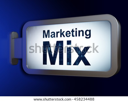 Advertising concept: Marketing Mix on advertising billboard background, 3D rendering - stock photo