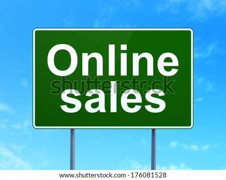 Advertising concept: Online Sales on green road (highway) sign, clear blue sky background, 3d render