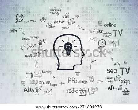 Advertising concept: Painted black Head With Lightbulb icon on Digital Paper background with Scheme Of Hand Drawn Marketing Icons, 3d render