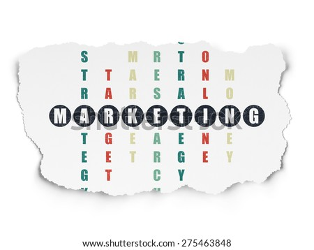 Advertising concept: Painted black word Marketing in solving Crossword Puzzle on Torn Paper background, 3d render - stock photo