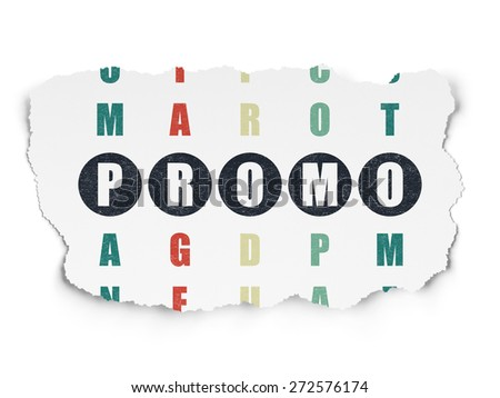 Advertising concept: Painted black word Promo in solving Crossword Puzzle on Torn Paper background, 3d render - stock photo