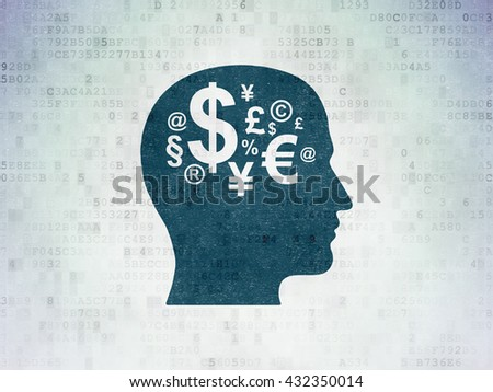 Advertising concept: Painted blue Head With Finance Symbol icon on Digital Data Paper background