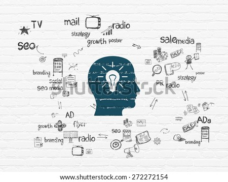 Advertising concept: Painted blue Head With Light Bulb icon on White Brick wall background with Scheme Of Hand Drawn Marketing Icons, 3d render