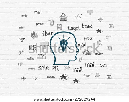 Advertising concept: Painted blue Head With Lightbulb icon on White Brick wall background with  Hand Drawn Marketing Icons, 3d render - stock photo