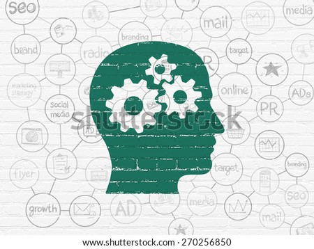 Advertising concept: Painted green Head With Gears icon on White Brick wall background with Scheme Of Hand Drawn Marketing Icons, 3d render - stock photo
