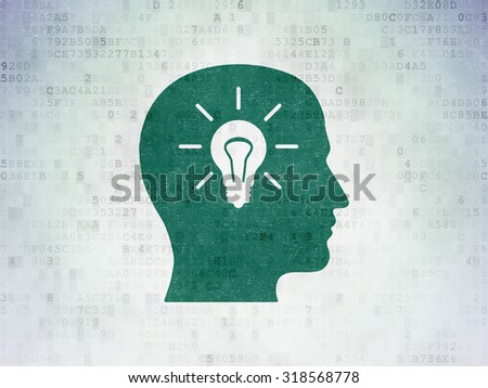 Advertising concept: Painted green Head With Light Bulb icon on Digital Paper background