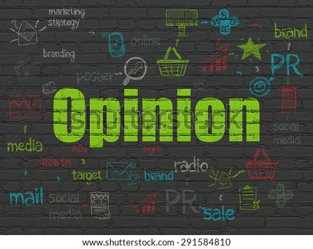 Advertising concept: Painted green text Opinion on Black Brick wall background with Scheme Of Hand Drawn Marketing Icons, 3d render - stock photo