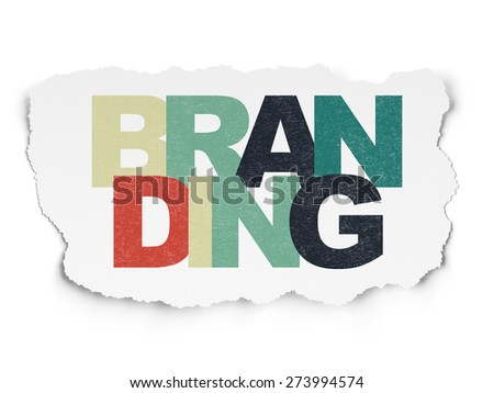 Advertising concept: Painted multicolor text Branding on Torn Paper background, 3d render - stock photo