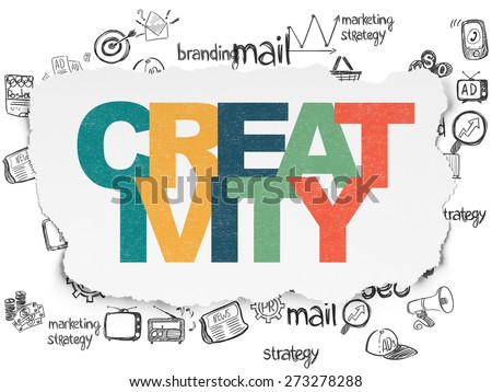 Advertising concept: Painted multicolor text Creativity on Torn Paper background with  Hand Drawn Marketing Icons, 3d render - stock photo