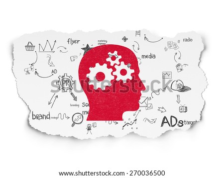 Advertising concept: Painted red Head With Gears icon on Torn Paper background with Scheme Of Hand Drawn Marketing Icons, 3d render - stock photo