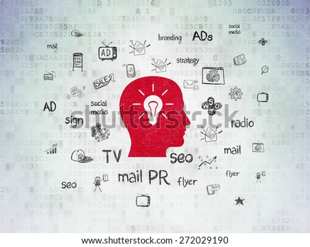 Advertising concept: Painted red Head With Light Bulb icon on Digital Paper background with  Hand Drawn Marketing Icons, 3d render - stock photo