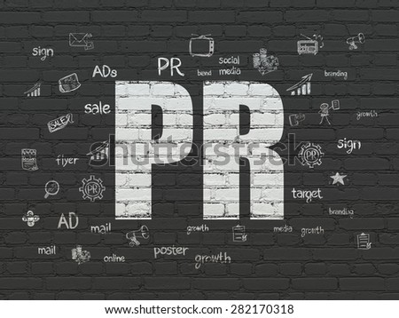 Advertising concept: Painted white text PR on Black Brick wall background with  Hand Drawn Marketing Icons, 3d render - stock photo