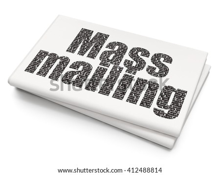 Advertising concept: Pixelated black text Mass Mailing on Blank Newspaper background, 3D rendering - stock photo