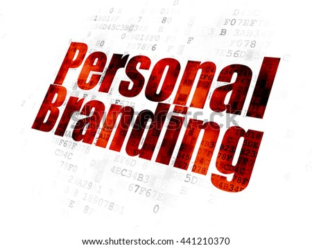 Advertising concept: Pixelated red text Personal Branding on Digital background