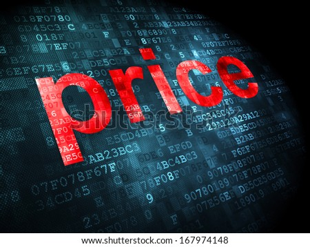 Advertising concept: pixelated words Price on digital background, 3d render