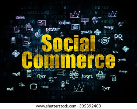 Advertising concept: Pixelated yellow text Social Commerce on Digital background with  Hand Drawn Marketing Icons, 3d render - stock photo