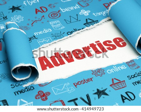 Advertising concept: red text Advertise under the curled piece of Blue torn paper with  Hand Drawn Marketing Icons, 3D rendering