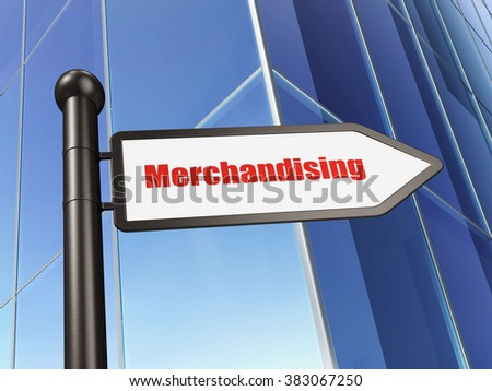 Advertising concept: sign Merchandising on Building background - stock photo