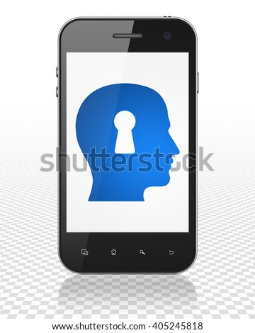 Advertising concept: Smartphone with blue Head With Keyhole icon on display, 3D rendering - stock photo