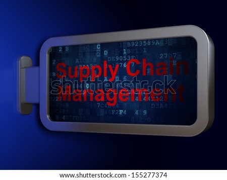 Advertising concept: Supply Chain Management on advertising billboard background, 3d render - stock photo