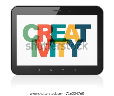 Advertising concept: Tablet Computer with Painted multicolor text Creativity on display, 3D rendering