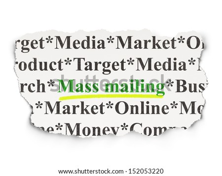 Advertising concept: torn newspaper with words Mass Mailing on Paper background, 3d render