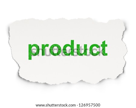 Advertising concept: torn paper with words Product on  background, 3d render - stock photo