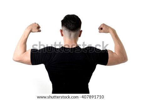 advertising corporate back portrait of young attractive sport man with big strong body wearing black t-shirt with copy space for adding gym and fitness health club logo  - stock photo