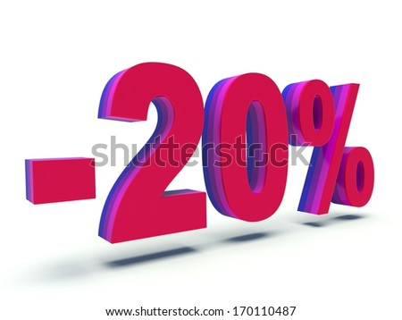 Advertising 20 % discount sign. 3d render illustration.