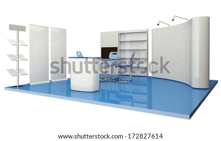 Advertising elements exhibition stand - stock photo