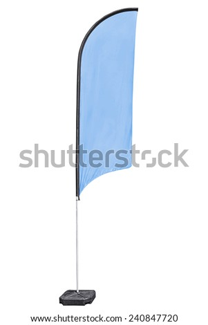 Advertising fabric flag on stand, also called beach flag, with clipping path.