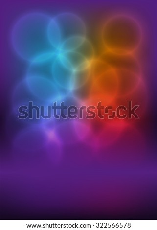 Advertising flyer party design elements. Purple background with elegant graphic blur bright light circles. Fun illustration for template brochure, layout leaflet, cafe menu card - stock photo
