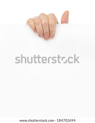 Advertising: Hand holding white empty paper