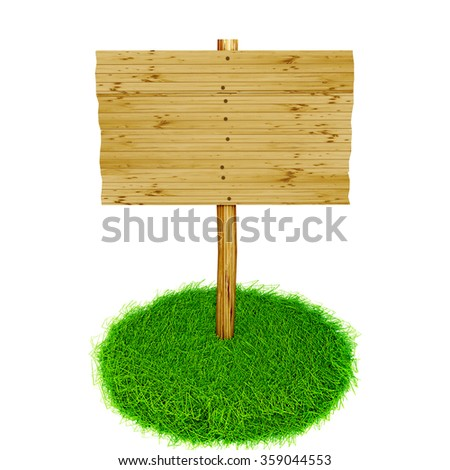 Advertising sign stands in fresh grass tufts