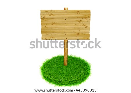 Advertising sign stands in fresh grass tufts, 3d illustration