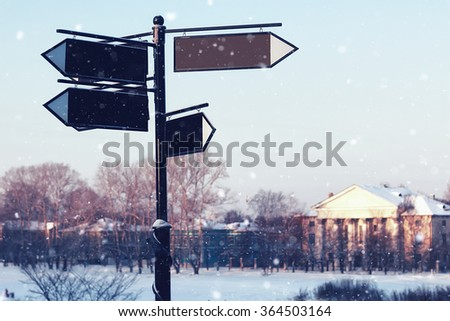 advertising space point street winter - stock photo