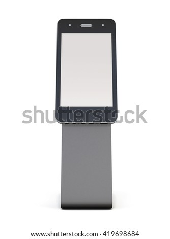 Advertising stand in the shape of telephone  isolated on white background. Front view. For your disign. Information desk. Outdoor advertising stand. 3d rendering - stock photo