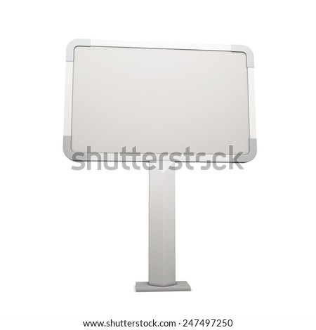 Advertising stand isolated on white background. Blank billboard. 3d render image - stock photo