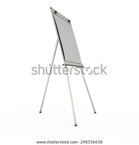 advertising stand or easel isolated on white background. 3d render image. - stock photo