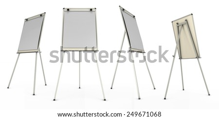 Advertising stand or easel views from different angles. 3d render image. Easel isolated on a white background. - stock photo