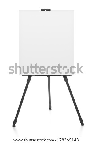 advertising stand or flip chart or blank artist easel isolated on white
