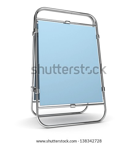 Advertising stand. With space for your text and picture. 3d render blank trade show booth for designers - stock photo