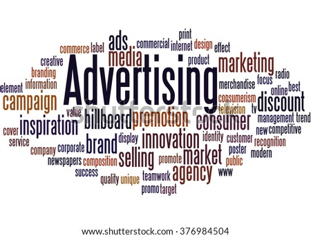 Advertising, word cloud concept on white background.